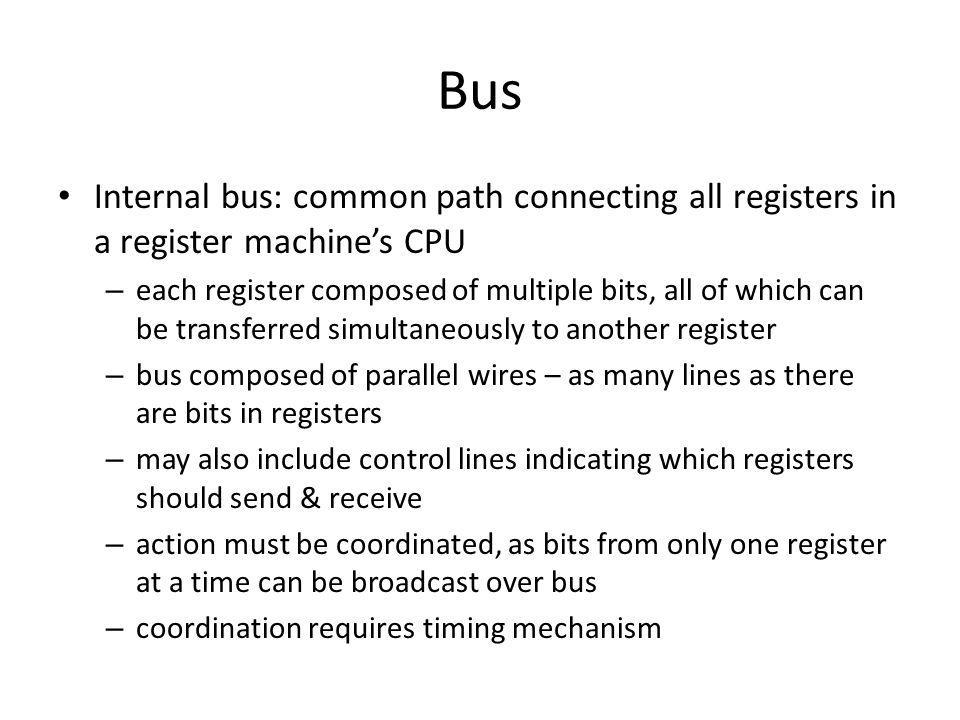 Bus Internal bus: common path connecting all registers in a register machine's CPU.
