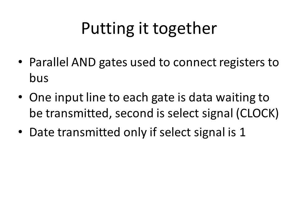 Putting it together Parallel AND gates used to connect registers to bus.