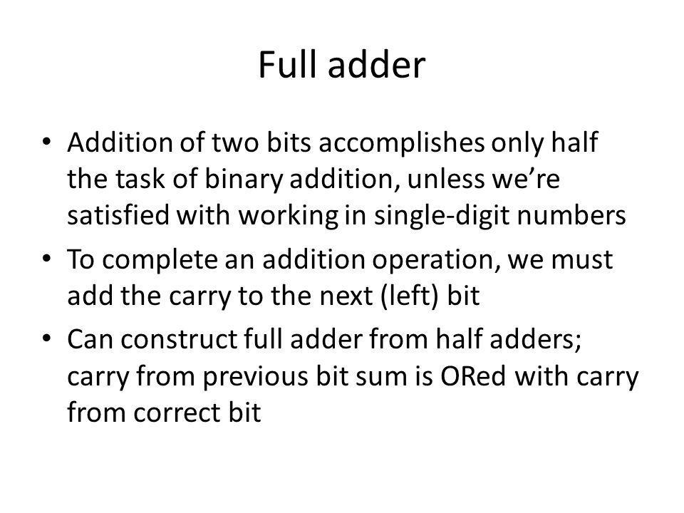 Full adder Addition of two bits accomplishes only half the task of binary addition, unless we're satisfied with working in single-digit numbers.