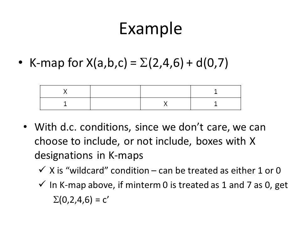 Example K-map for X(a,b,c) = (2,4,6) + d(0,7)