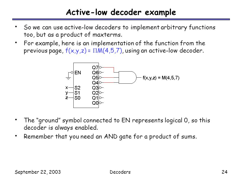 Active-low decoder example