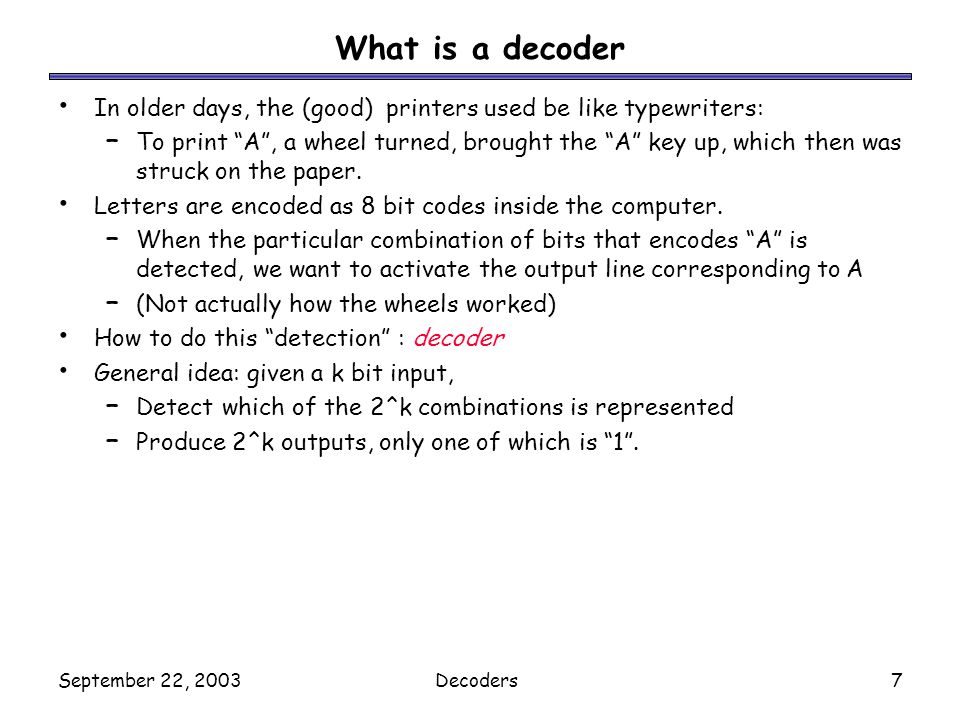 What is a decoder In older days, the (good) printers used be like typewriters:
