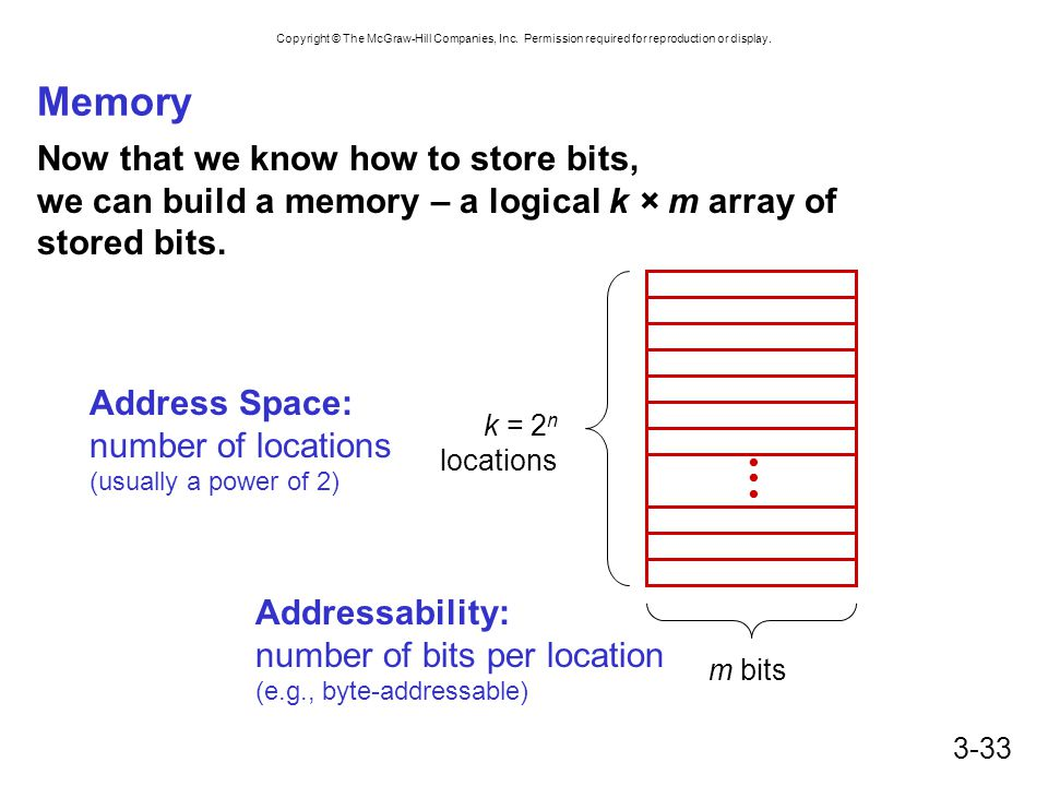Memory Now that we know how to store bits, we can build a memory – a logical k × m array of stored bits.