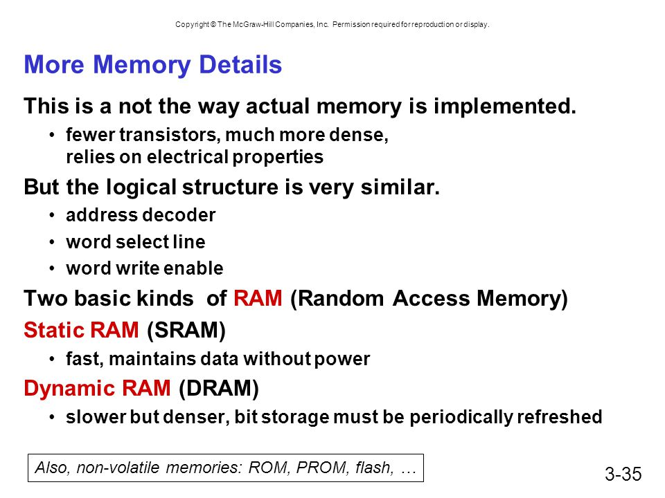 Also, non-volatile memories: ROM, PROM, flash, …
