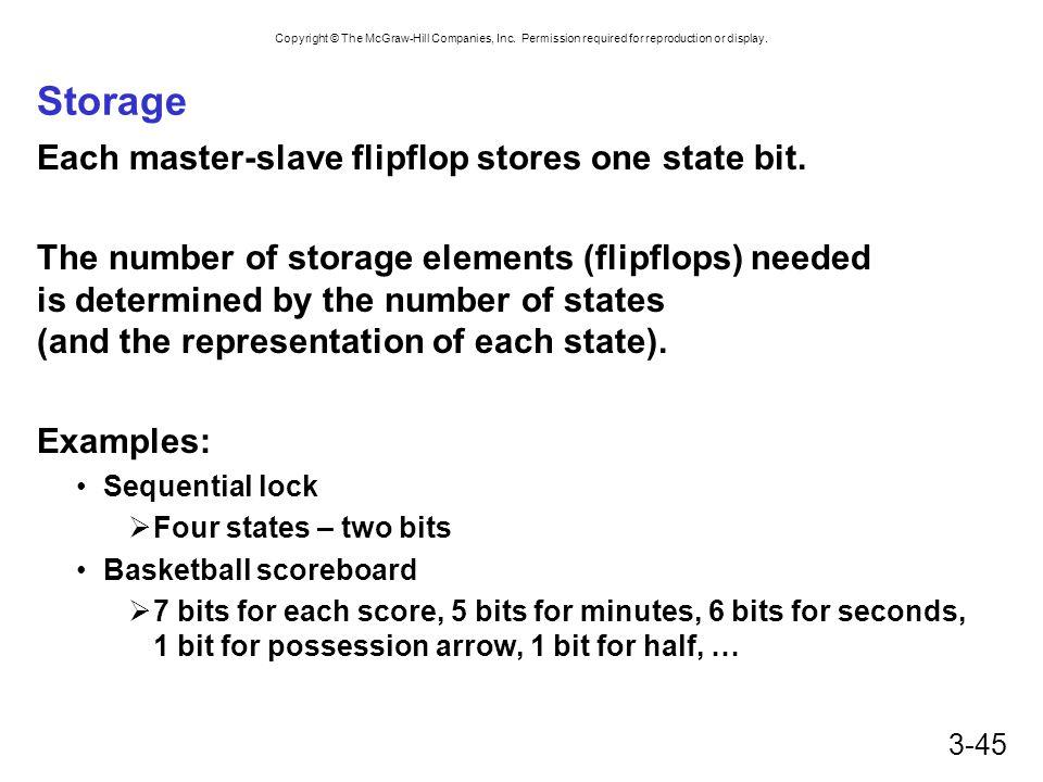 Storage Each master-slave flipflop stores one state bit.