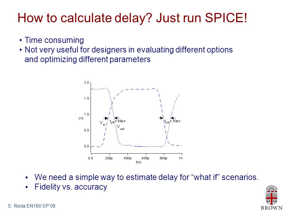 How to calculate delay Just run SPICE!