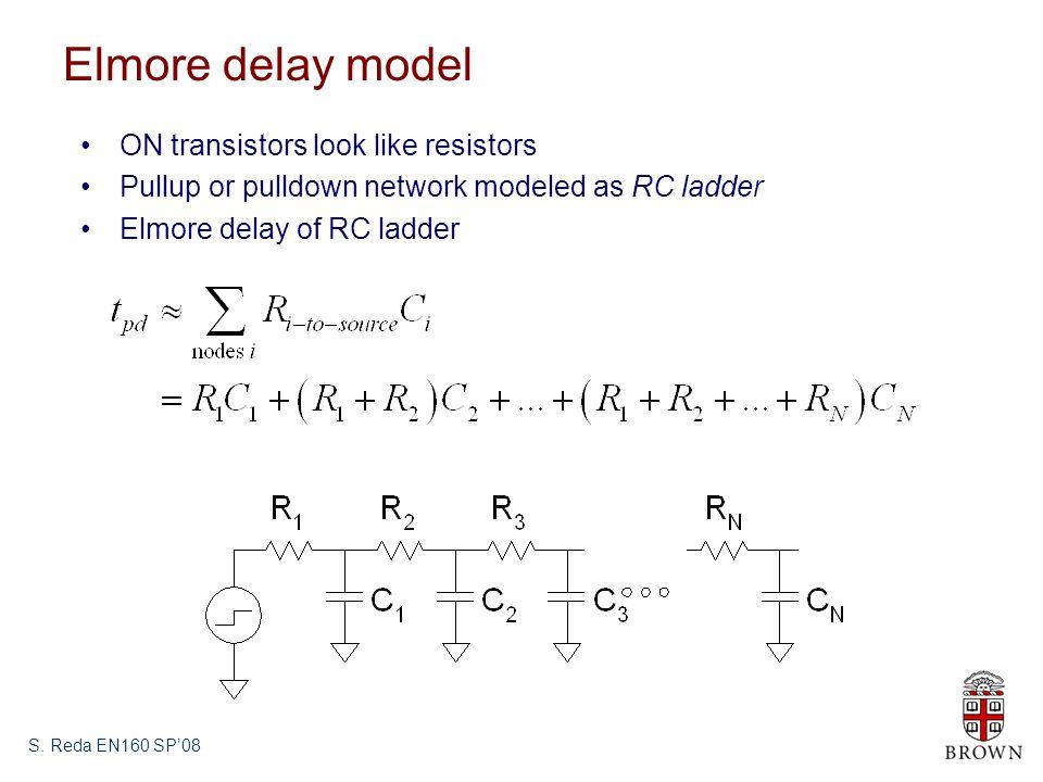 Elmore delay model ON transistors look like resistors