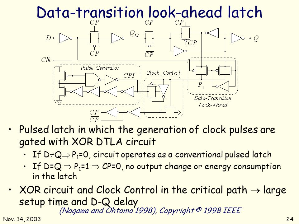 Data-transition look-ahead latch