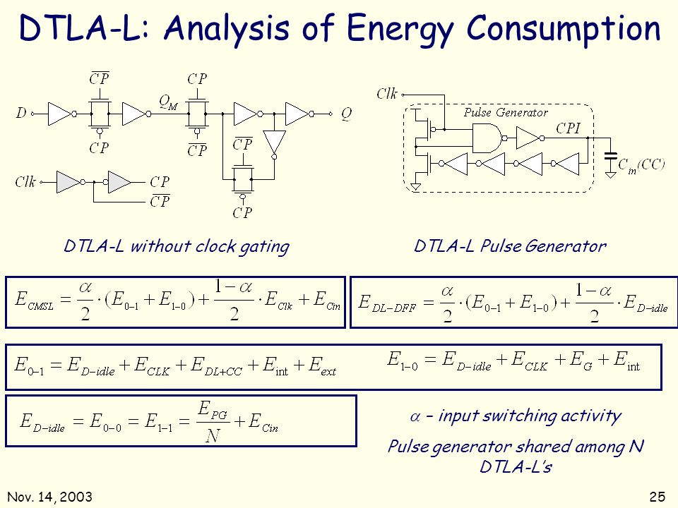 DTLA-L: Analysis of Energy Consumption