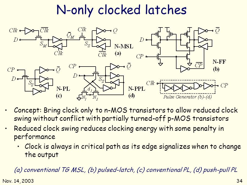N-only clocked latches