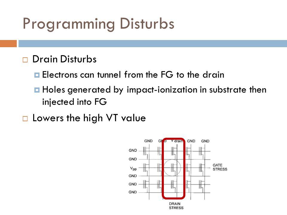 Programming Disturbs Drain Disturbs Lowers the high VT value