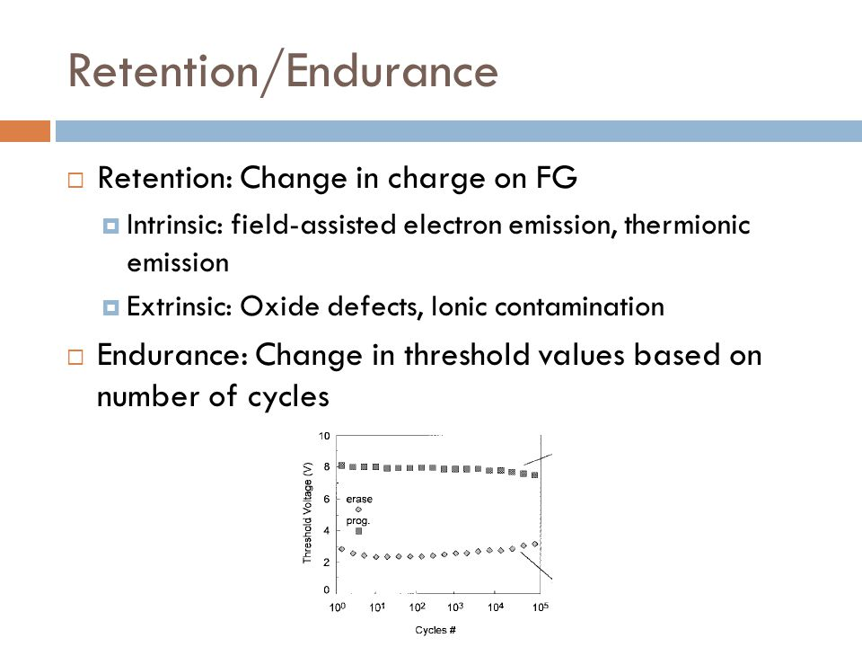 Retention/Endurance Retention: Change in charge on FG
