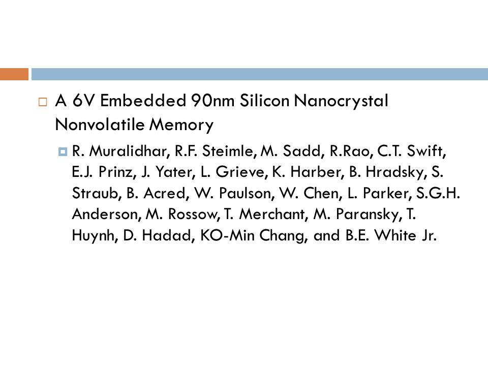 A 6V Embedded 90nm Silicon Nanocrystal Nonvolatile Memory