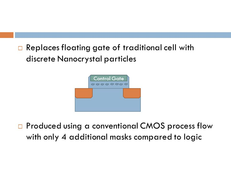 Replaces floating gate of traditional cell with discrete Nanocrystal particles