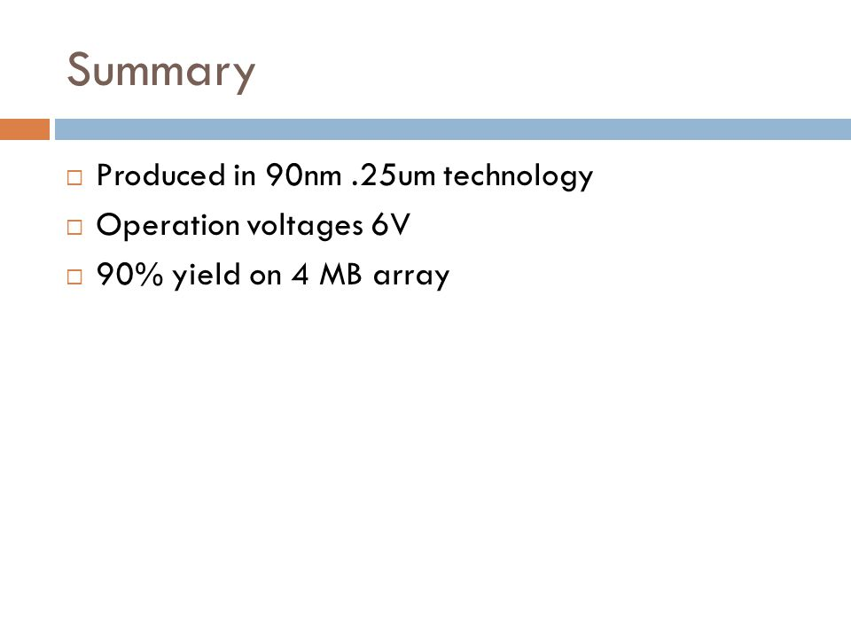 Summary Produced in 90nm .25um technology Operation voltages 6V