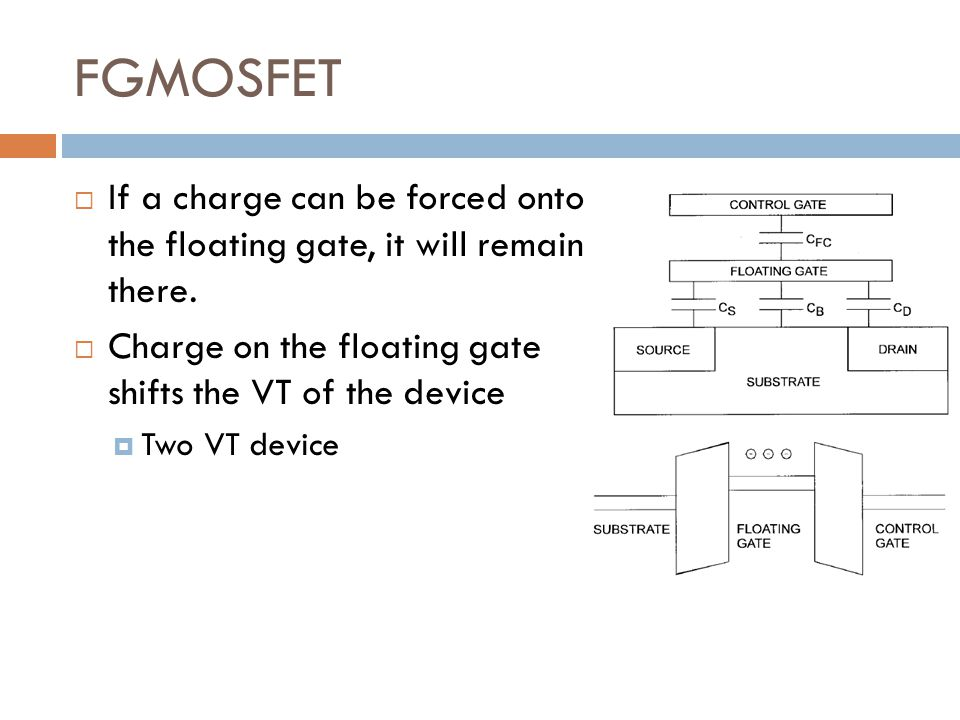 FGMOSFET If a charge can be forced onto the floating gate, it will remain there. Charge on the floating gate shifts the VT of the device.
