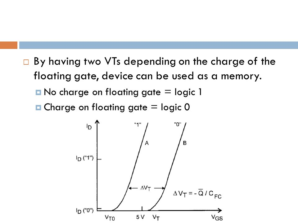 By having two VTs depending on the charge of the floating gate, device can be used as a memory.