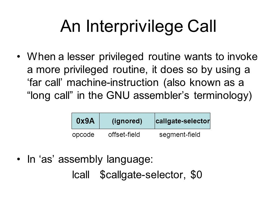 An Interprivilege Call