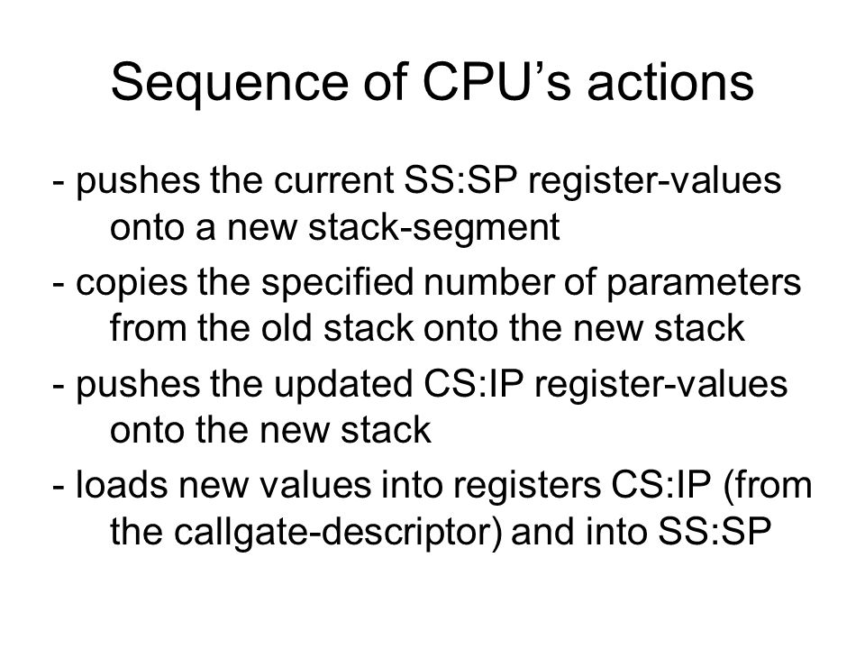 Sequence of CPU's actions