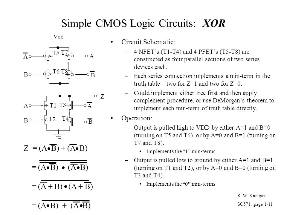 Simple CMOS Logic Circuits: XOR