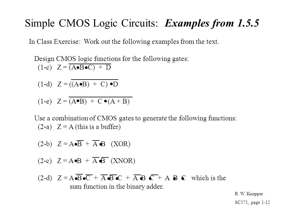 Simple CMOS Logic Circuits: Examples from 1.5.5