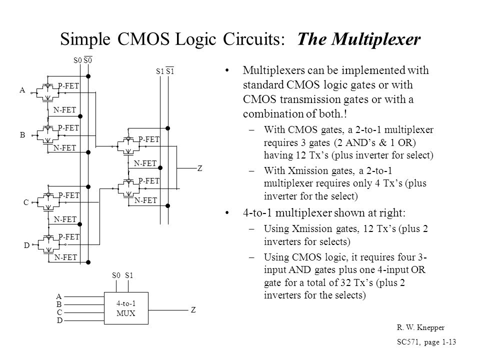 Simple CMOS Logic Circuits: The Multiplexer