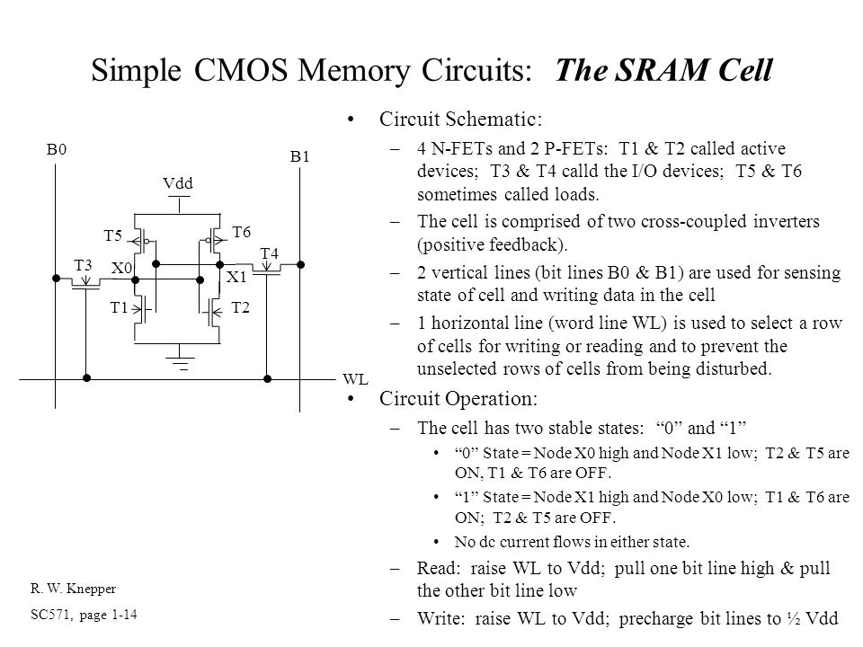 Simple CMOS Memory Circuits: The SRAM Cell