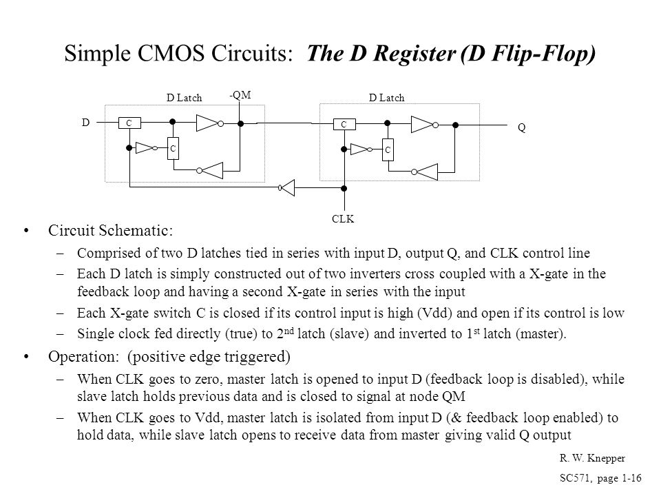 Simple CMOS Circuits: The D Register (D Flip-Flop)