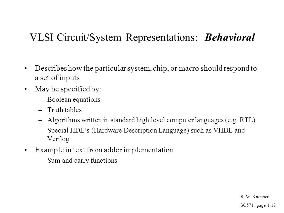 VLSI Circuit/System Representations: Behavioral