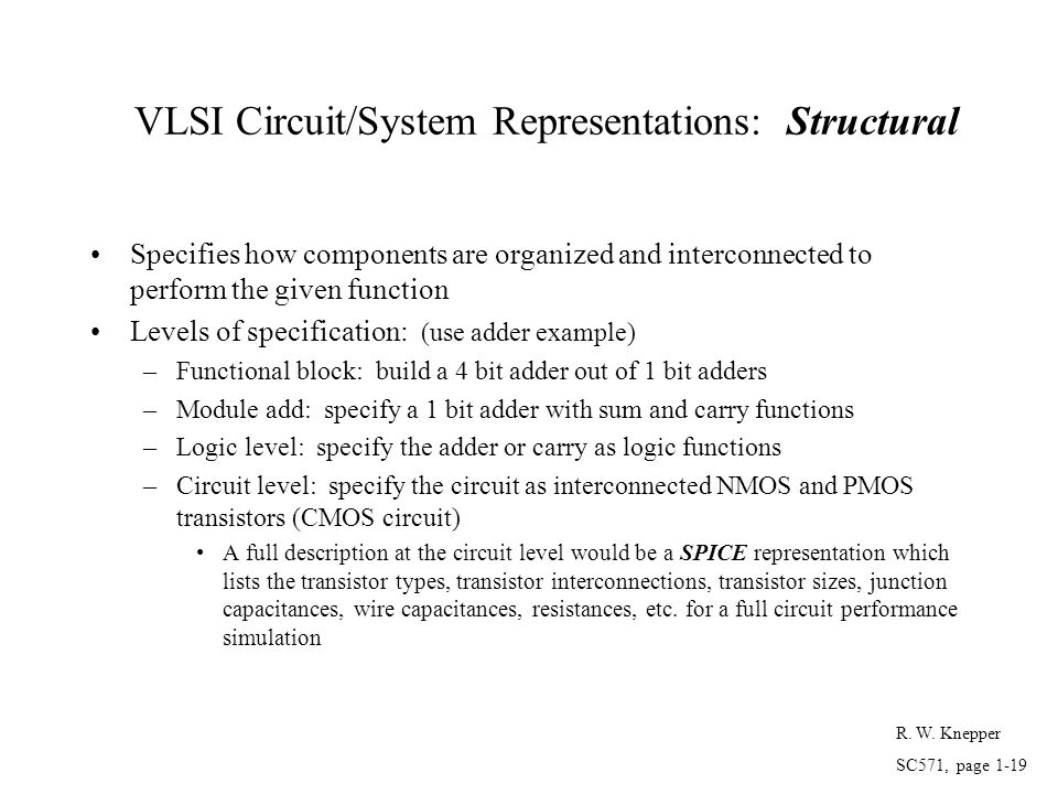 VLSI Circuit/System Representations: Structural