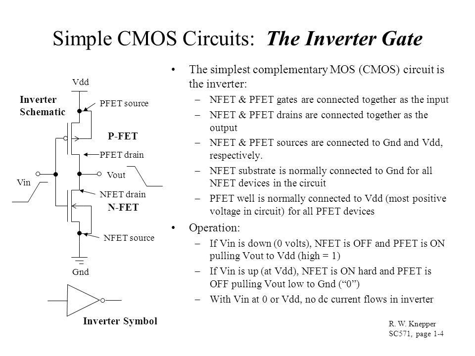 Simple CMOS Circuits: The Inverter Gate