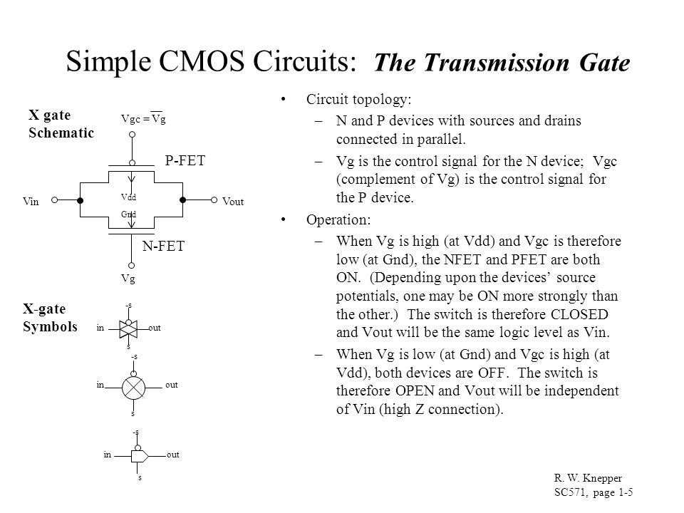 Simple CMOS Circuits: The Transmission Gate