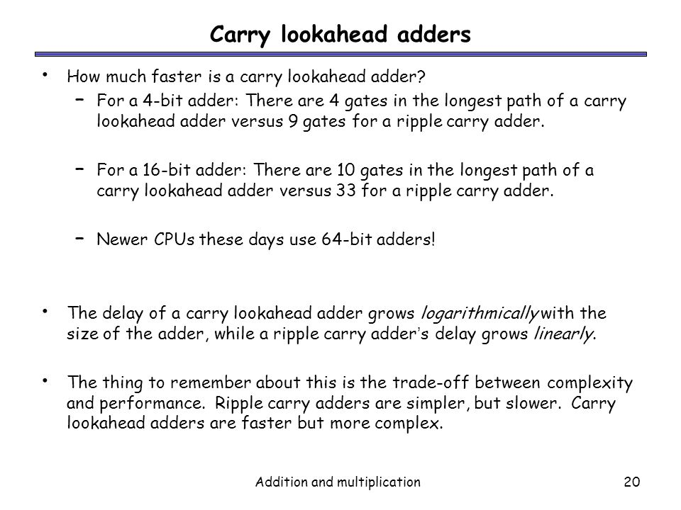 Carry lookahead adders