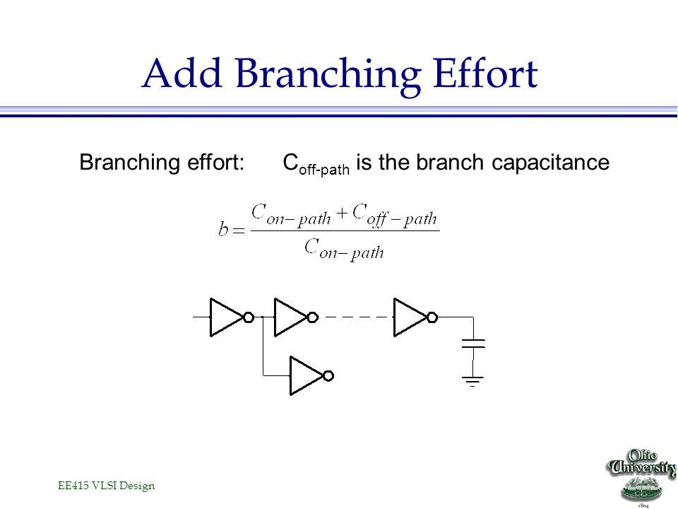 Add Branching Effort Branching effort: Coff-path is the branch capacitance