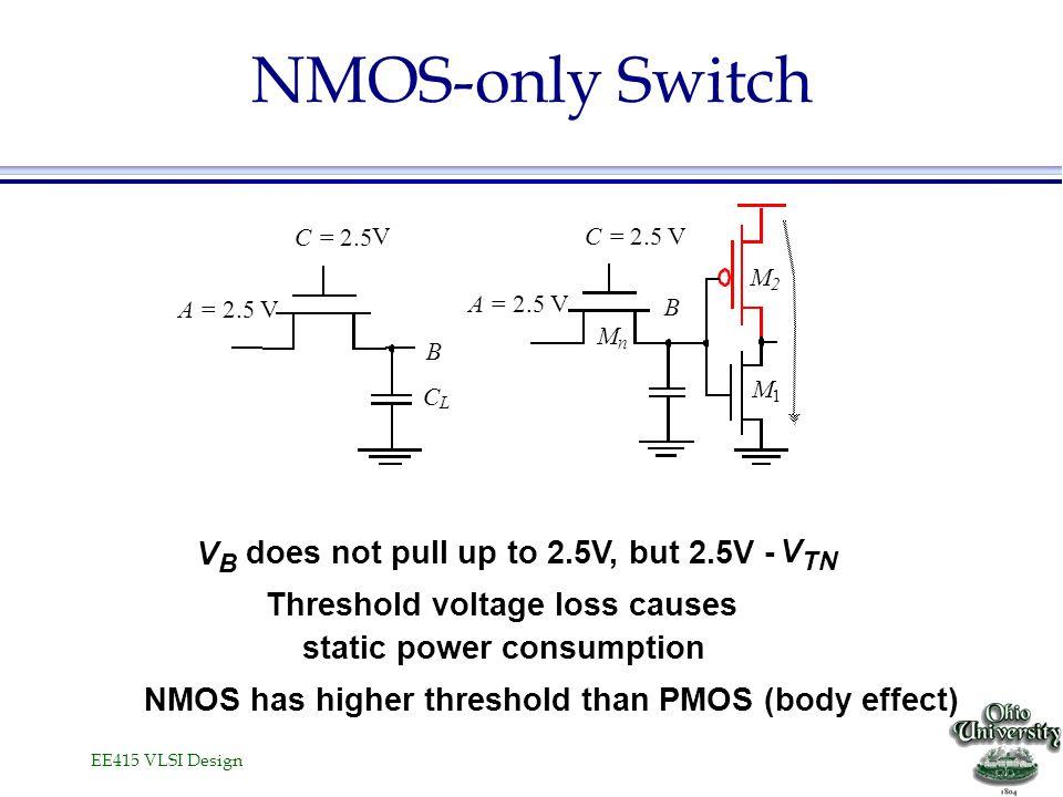 NMOS-only Switch V does not pull up to 2.5V, but 2.5V - V