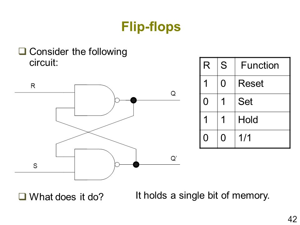 Flip-flops Consider the following circuit: What does it do R S