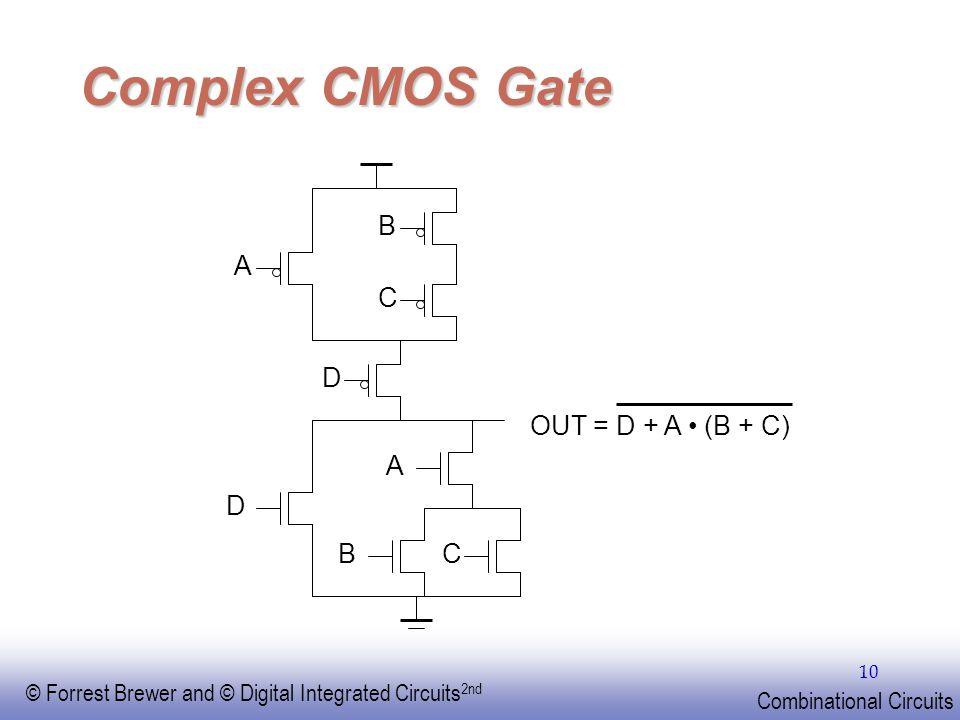 Complex CMOS Gate B C A D OUT = D + A • (B + C) A D B C EE141