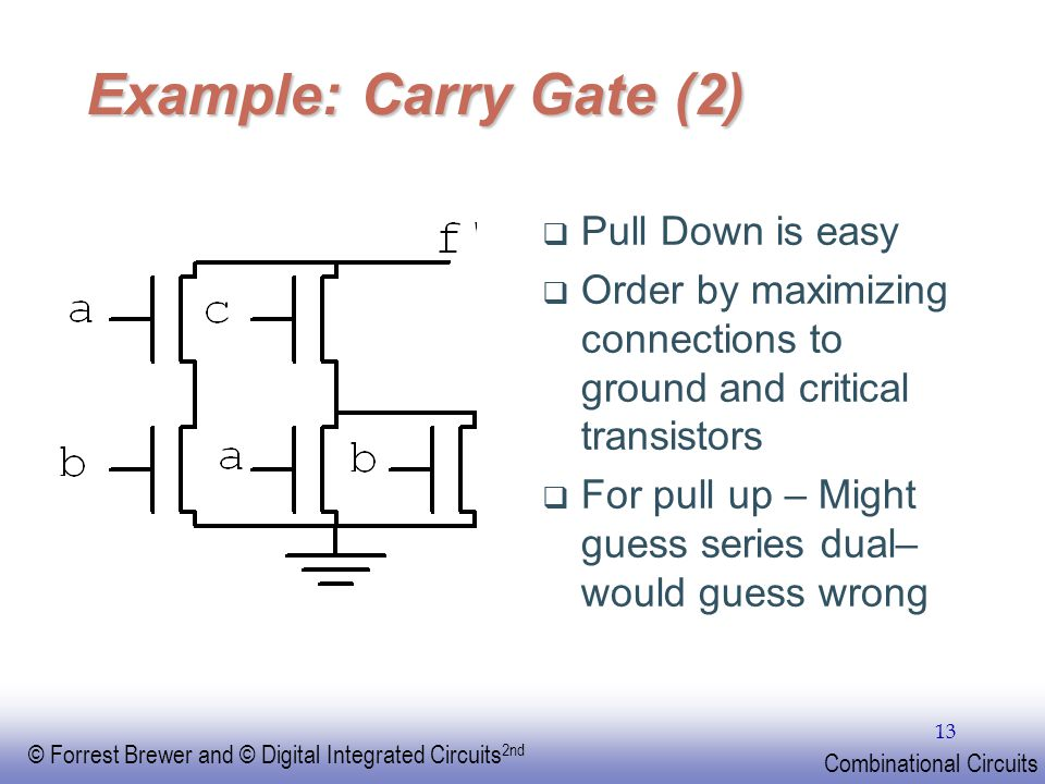 Example: Carry Gate (2) Pull Down is easy