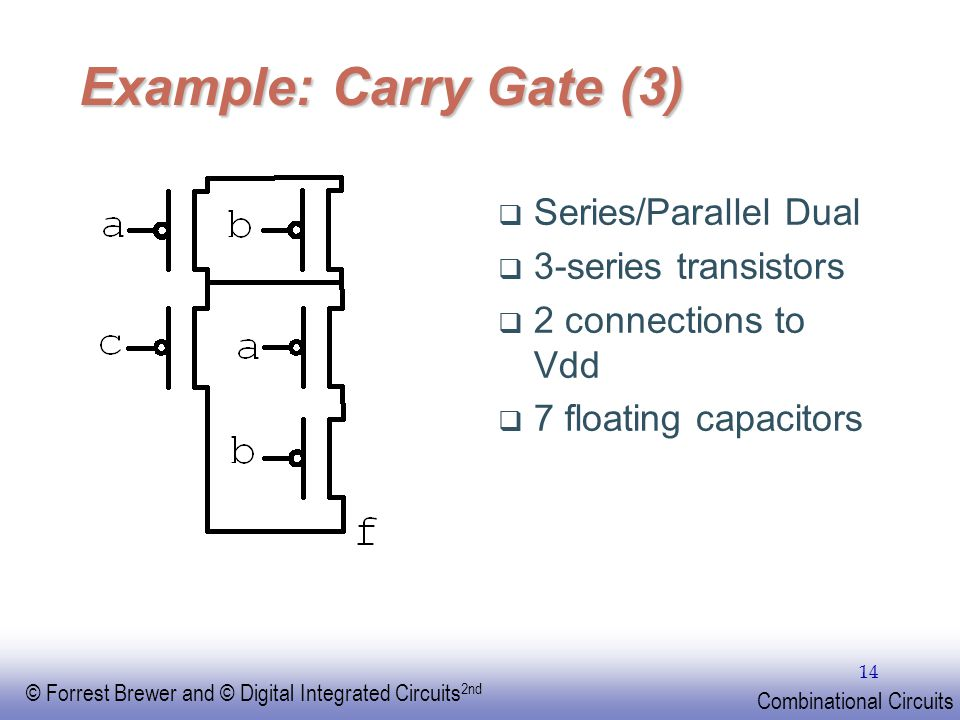Example: Carry Gate (3) Series/Parallel Dual 3-series transistors