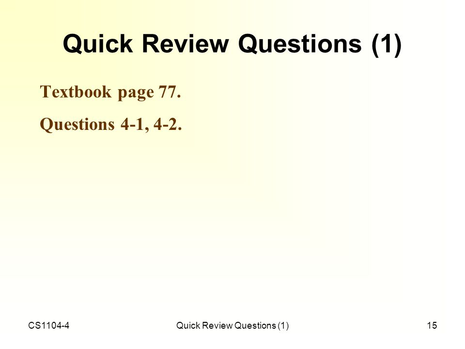 Quick Review Questions (1)