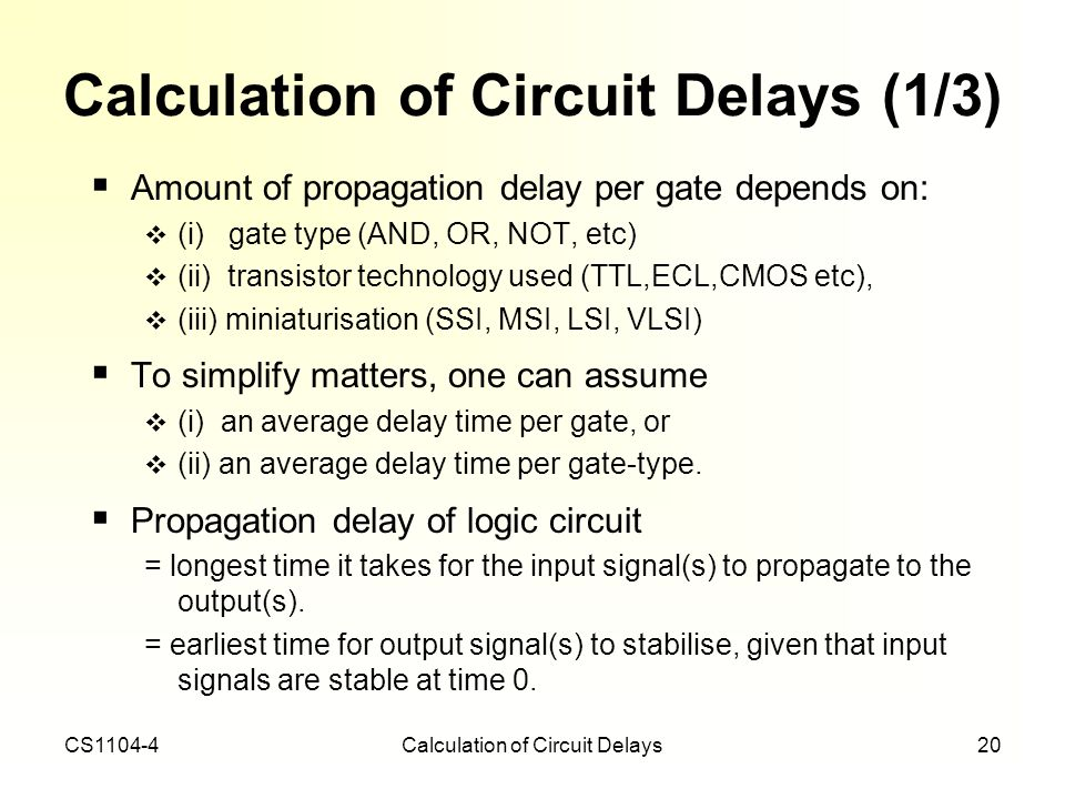Calculation of Circuit Delays (1/3)
