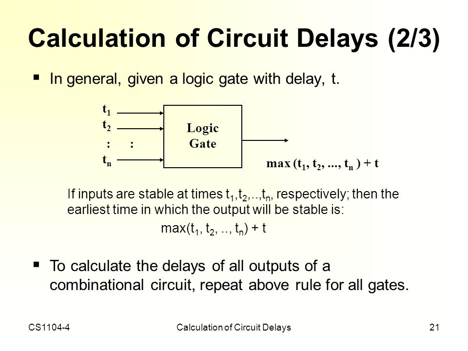 Calculation of Circuit Delays (2/3)