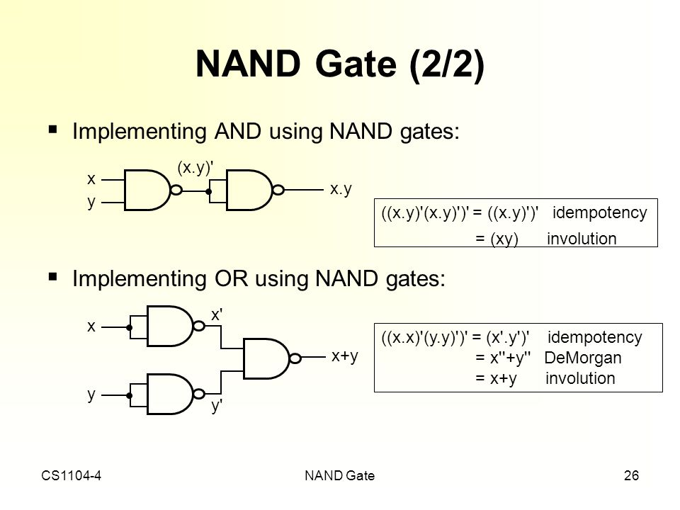 NAND Gate (2/2) Implementing AND using NAND gates: