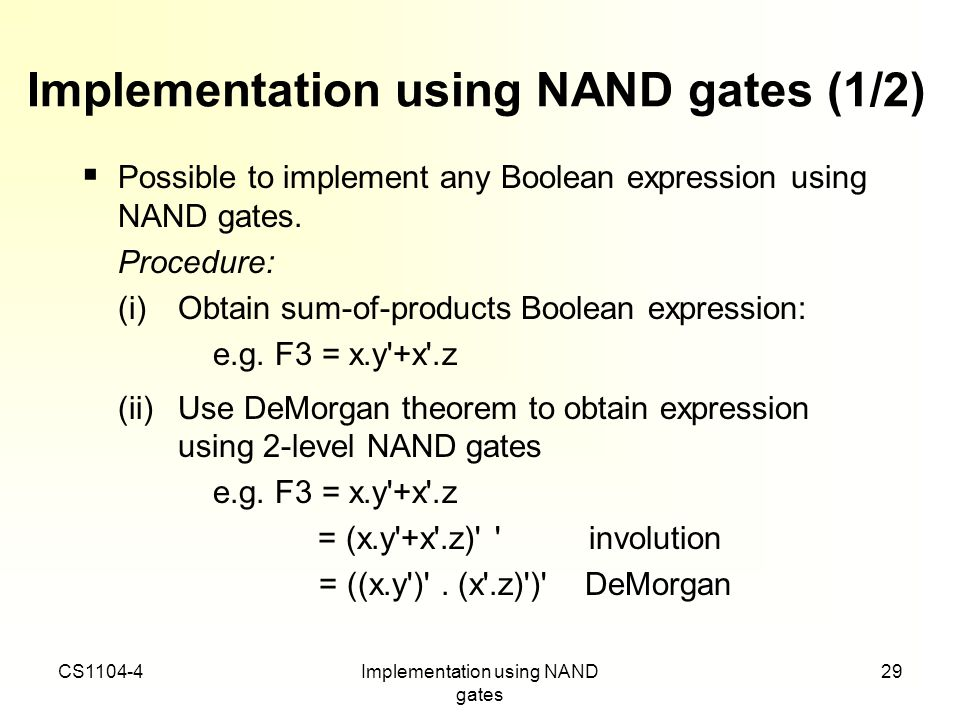 Implementation using NAND gates (1/2)