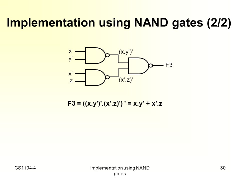 Implementation using NAND gates (2/2)