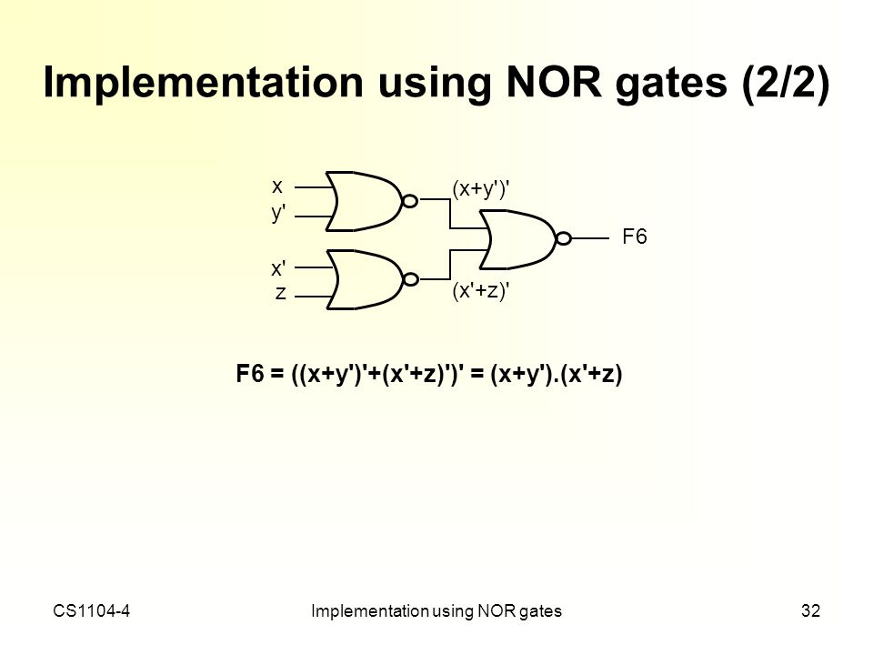 Implementation using NOR gates (2/2)