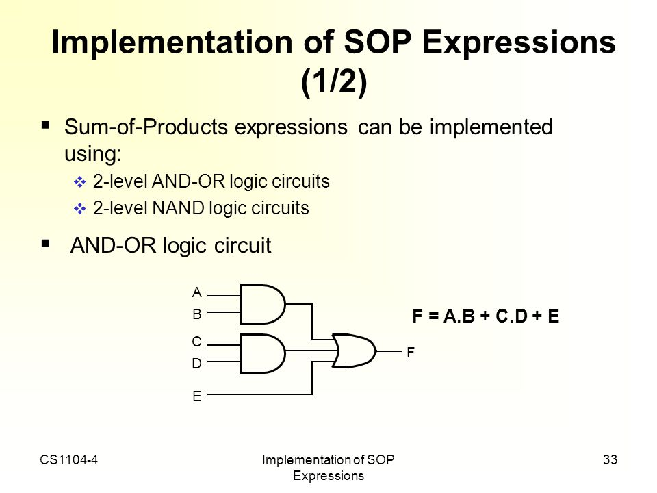 Implementation of SOP Expressions (1/2)
