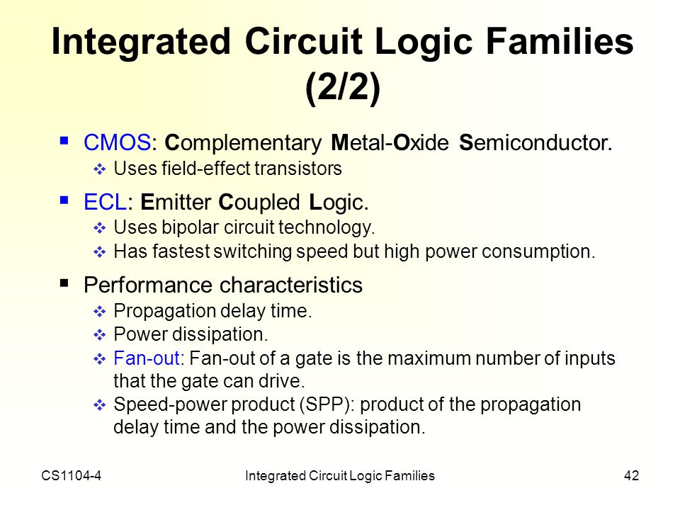 Integrated Circuit Logic Families (2/2)