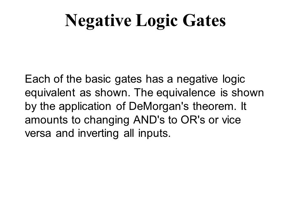 Negative Logic Gates Each of the basic gates has a negative logic