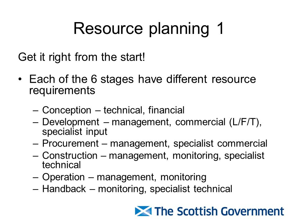 Resource planning 1 Get it right from the start!